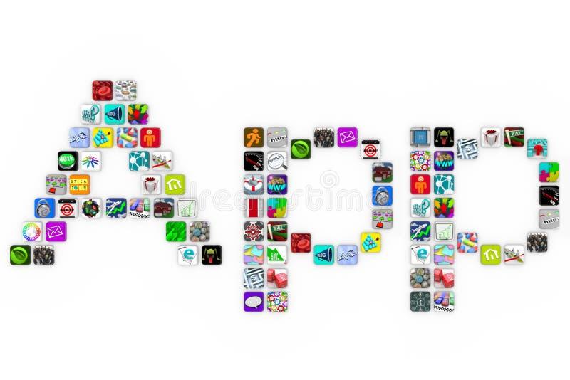 Apps - Word van de Vorm van de Pictogrammen van de Tegel op Witte Achtergrond vector illustratie