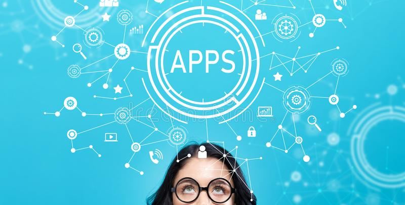 Apps with young woman. On a blue background vector illustration