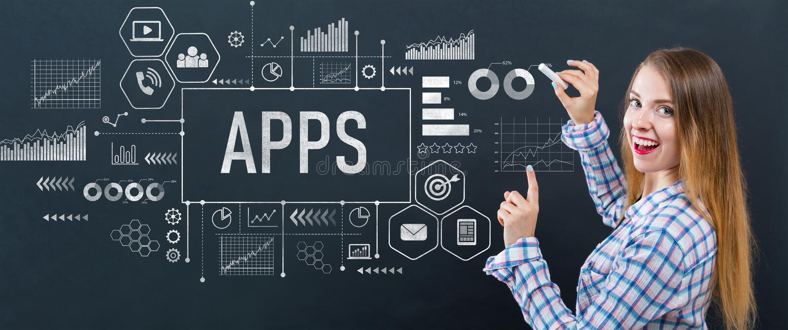 Apps with young woman stock photo