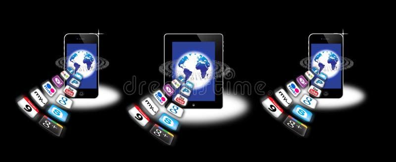 appsmobilnätverk royaltyfri illustrationer