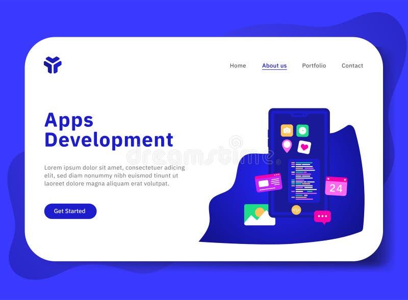 Appsutveckling med telefonen vektor illustrationer