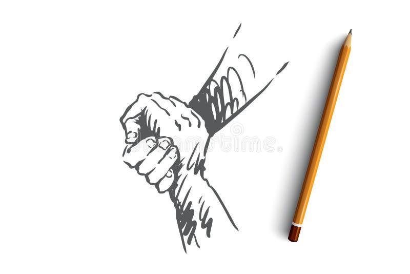 Appui, aide, amitié, ensemble, concept de personnes Vecteur d'isolement tiré par la main illustration libre de droits