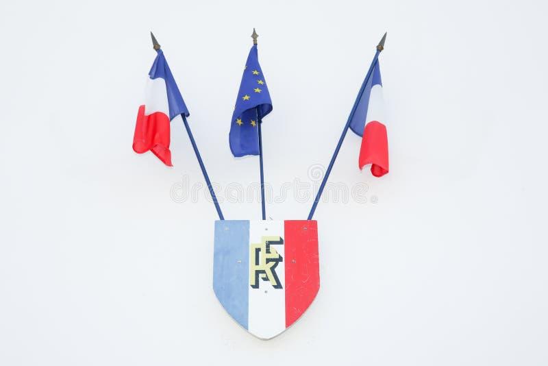 Appui bleu blanc rouge de signe de drapeau français et européen images stock