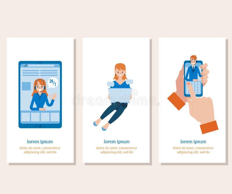 Appui de ligne directe de vecteur et ensemble en ligne d'assistants illustration libre de droits