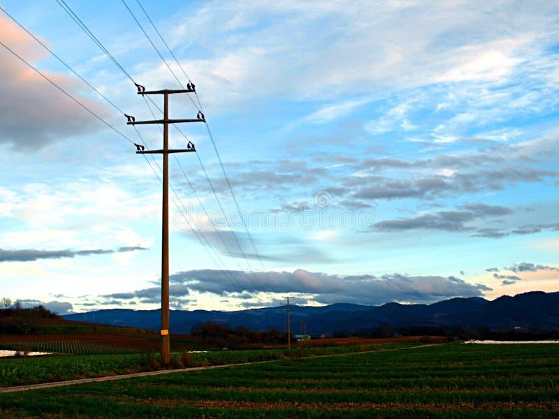 Appui des lignes électriques le soir photo libre de droits