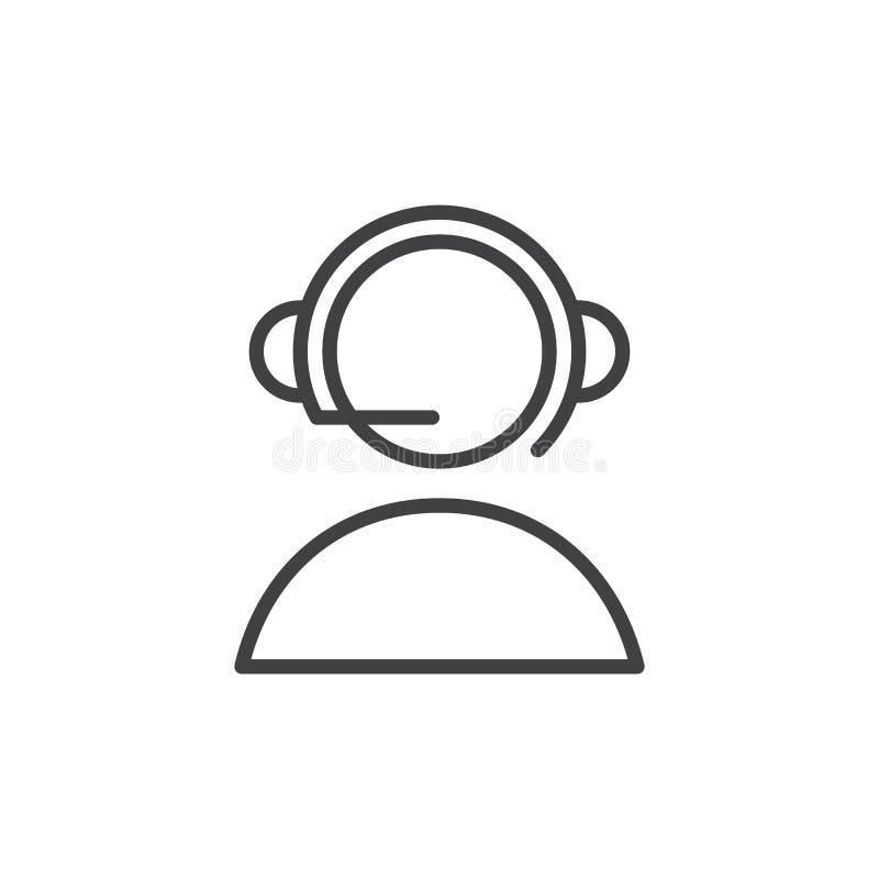 Appui en ligne, ligne icône, signe de vecteur d'ensemble, pictogramme linéaire de centre d'appels de style d'isolement sur le bla illustration de vecteur