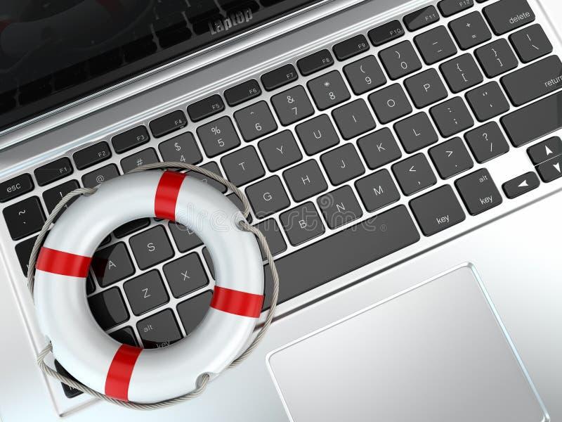 Appui. Ordinateur portable et conservateur de vie pour la première aide. illustration stock