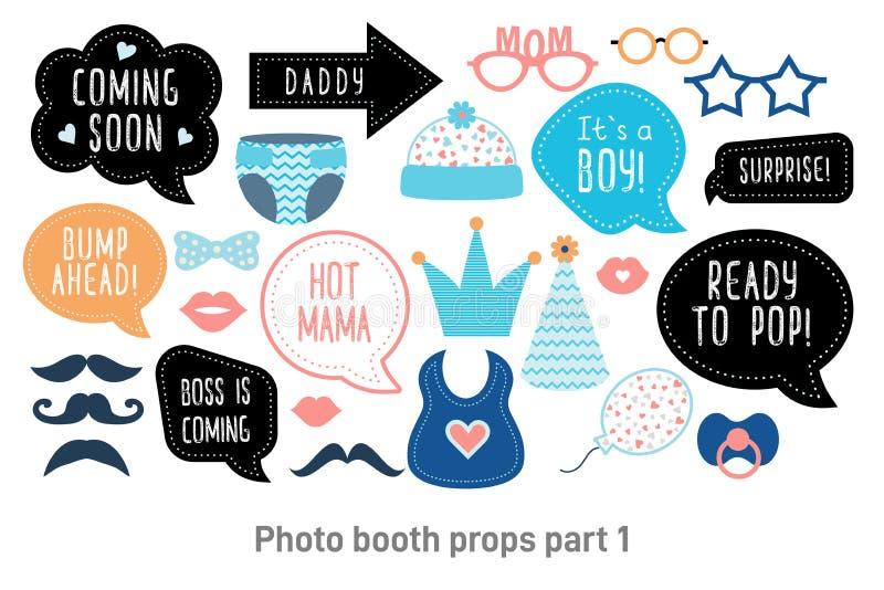 Appui verticaux de photobooth de cabine de photo de fête de naissance réglés illustration libre de droits