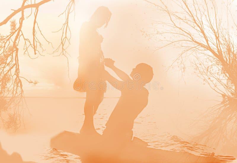 Appuntamento romantico delicato in una nebbia di mattina illustrazione di stock