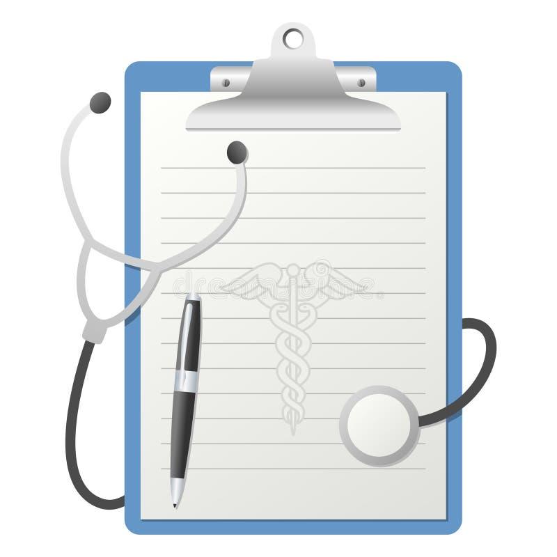 Appunti con lo stetoscopio illustrazione di stock