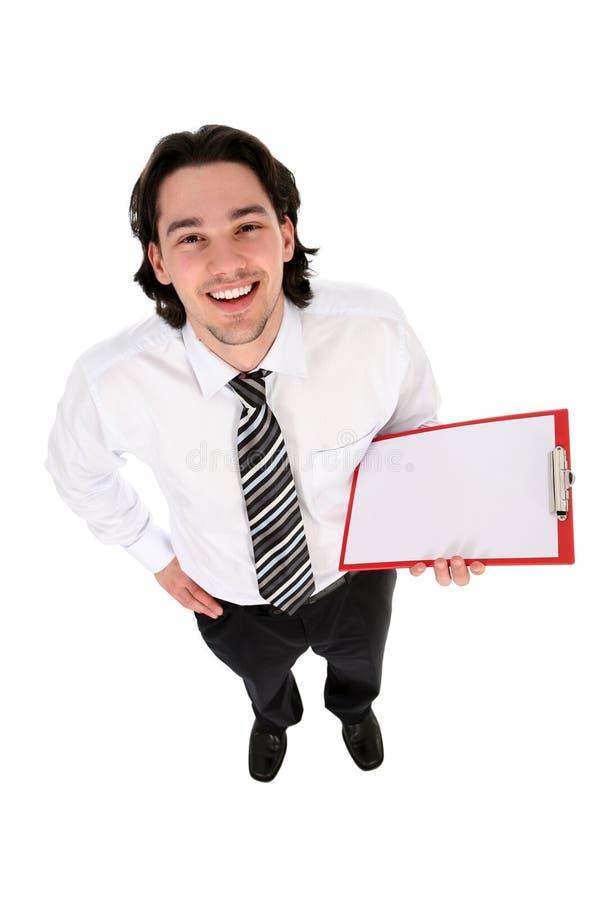 Appunti della holding dell'uomo, sorridenti fotografia stock libera da diritti