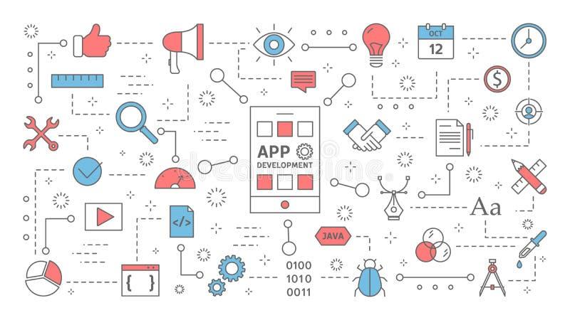 Apputveckling för mobiltelefonbegreppet vektor illustrationer