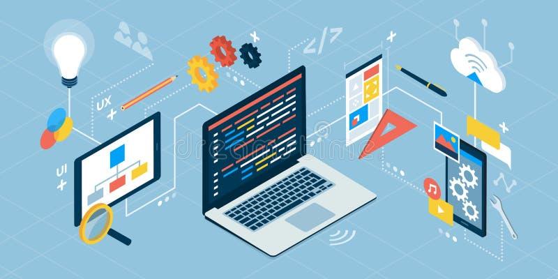 Apputveckling och DET teknologi royaltyfri illustrationer