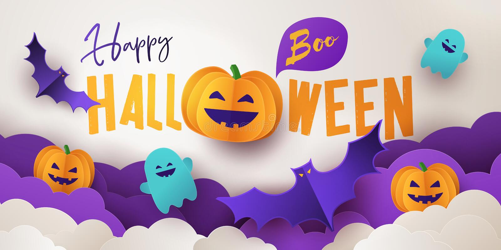 Happy Halloween greeting banner or party invitation with Holiday calligraphy, clouds, pumpkins, bats and cute ghosts stock illustration