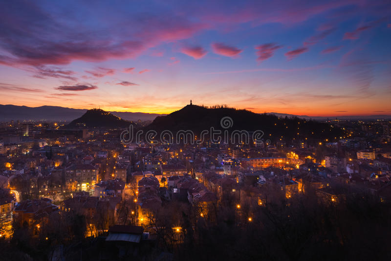 Après coucher du soleil à Plovdiv image libre de droits