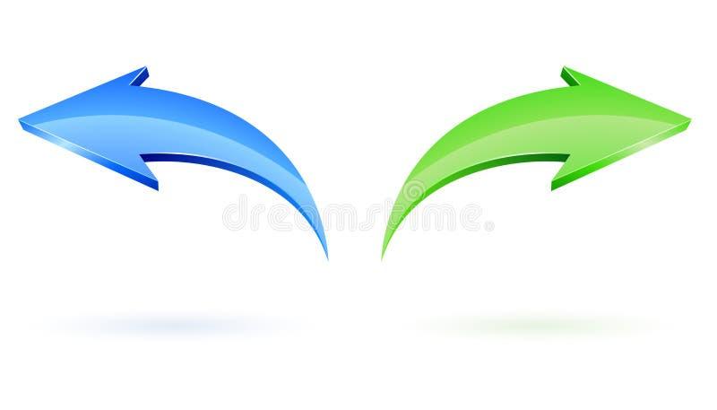 Après et flèches arrières de vecteur illustration de vecteur