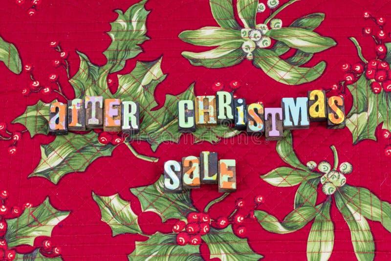 Après la typographie de magasin d'affaires de vente de Noël photos stock
