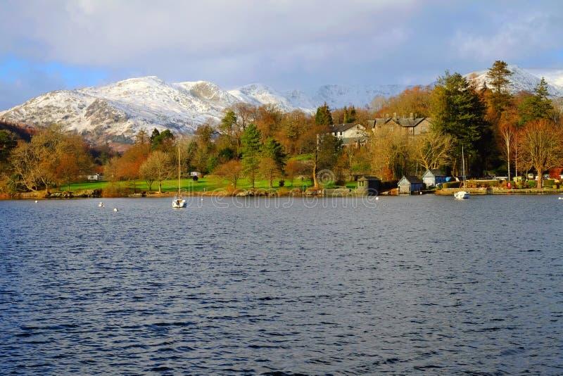Après-midi anglais d'hiver de secteur de lac photos stock