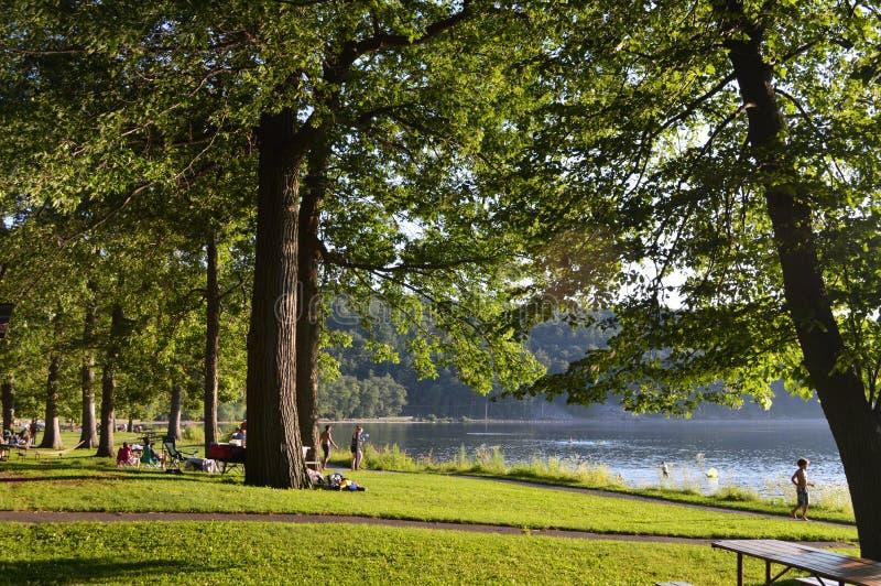 Après-midi sur un lac images libres de droits