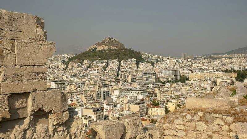 Après-midi tiré de la colline de lycabettus à Athènes image libre de droits