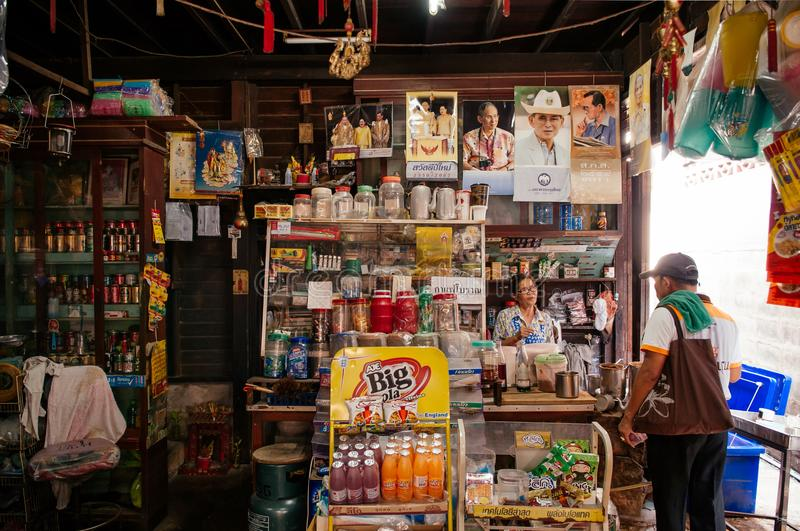 Old rustic local retail grocery shop in Bangkok royalty free stock image