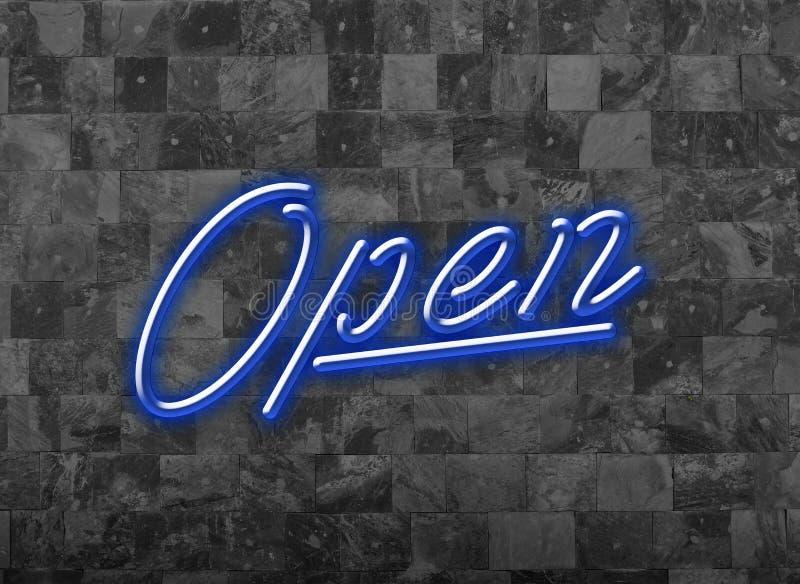 Apra firmano la fonte al neon blu dentro Glooming su una parete scura fotografia stock