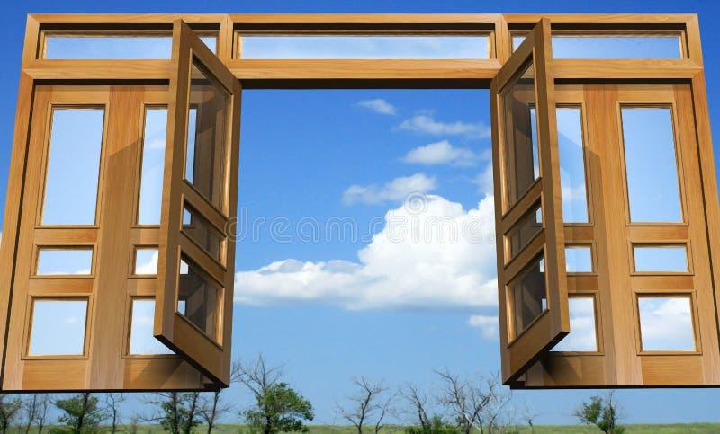 Apra i cancelli nel paradiso celeste illustrazione di stock