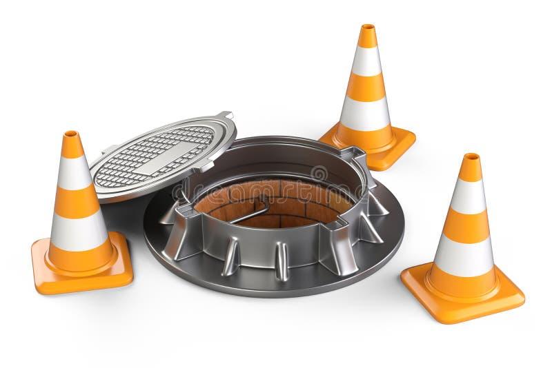 Apra i coni di traffico e della botola illustrazione vettoriale