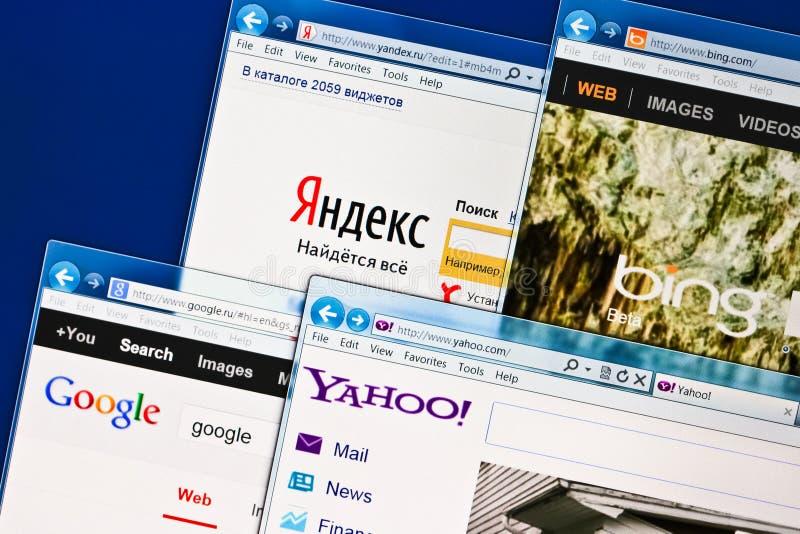 Apra i siti di SEO Yandex, Google, Bing, Yahoo fotografie stock libere da diritti