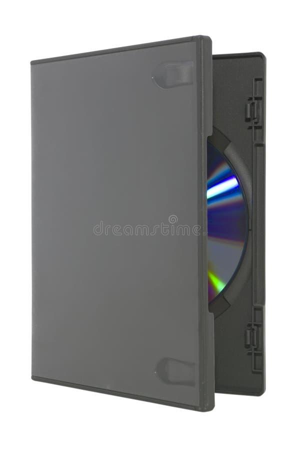 Apra il caso di DVD su bianco con il percorso di residuo della potatura meccanica fotografie stock