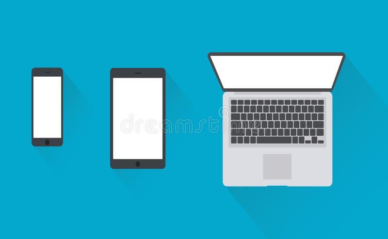 Apra il computer portatile con la compressa digitale e lo smartphone bianco illustrazione vettoriale