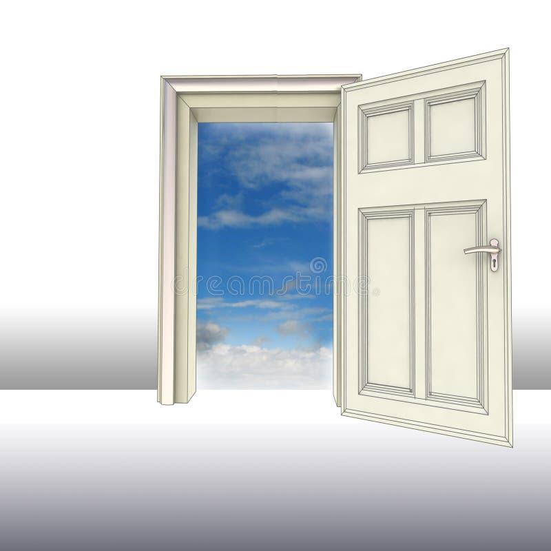 Apra il concetto della porta a cielo royalty illustrazione gratis