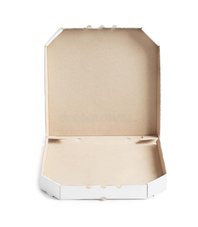 Apra il contenitore di pizza del cartone fotografie stock