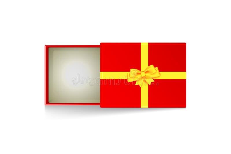 Apra il contenitore di regalo con l'arco lucido dell'oro illustrazione vettoriale
