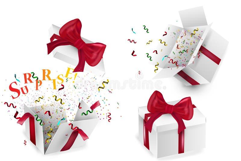 Apra il contenitore di regalo realistico 3d con l'arco rosso e dei i coriandoli colorati multi, isolati su fondo bianco con ombra royalty illustrazione gratis