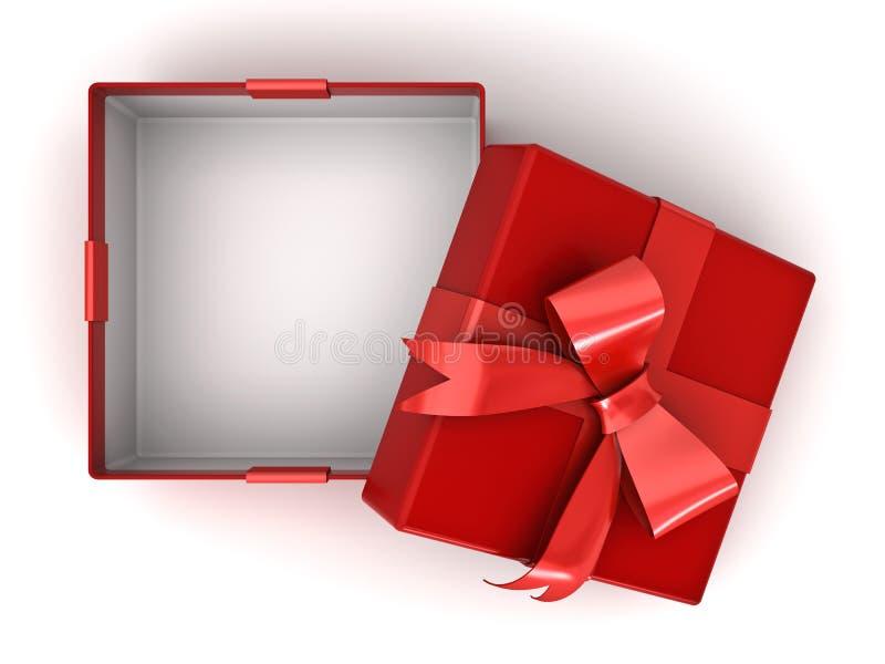 Apra il contenitore di regalo rosso o la scatola attuale con l'arco rosso del nastro e lo spazio vuoto nella scatola su fondo bia illustrazione vettoriale