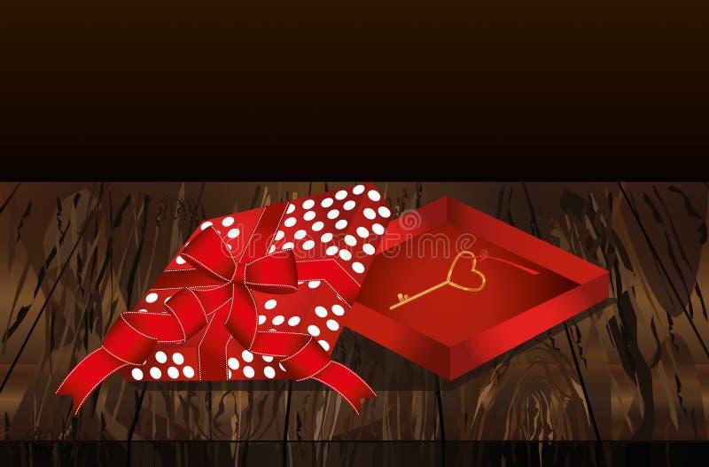 Apra il contenitore rosso di regalo con la chiave dorata Collana dorata Regalo su Vale royalty illustrazione gratis