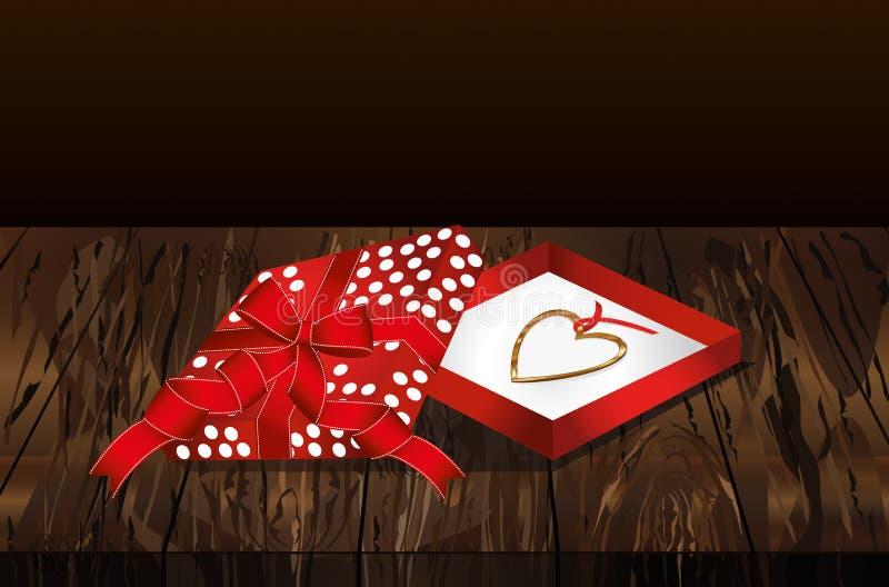 Apra il contenitore rosso di regalo con il pendente sotto forma di un cuore N dorata illustrazione vettoriale