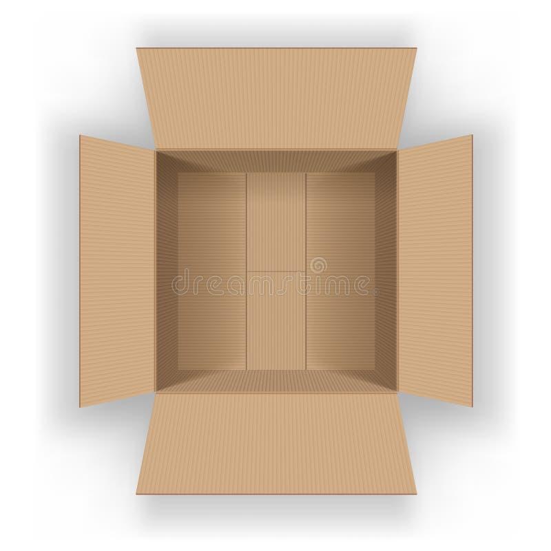 Apra il contenitore vuoto di cartone Vista da sopra illustrazione vettoriale