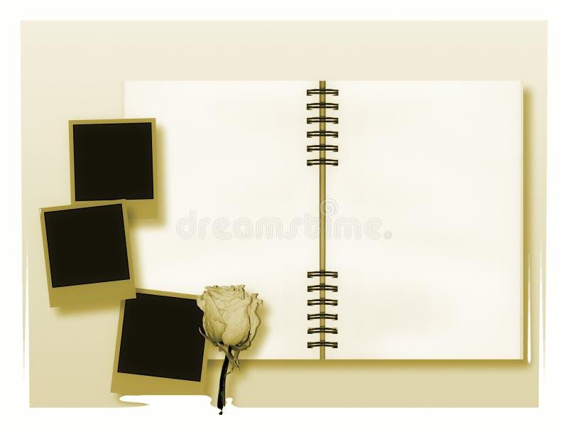 Apra il diario o l'album di foto con le foto di istante dell'annata immagine stock libera da diritti