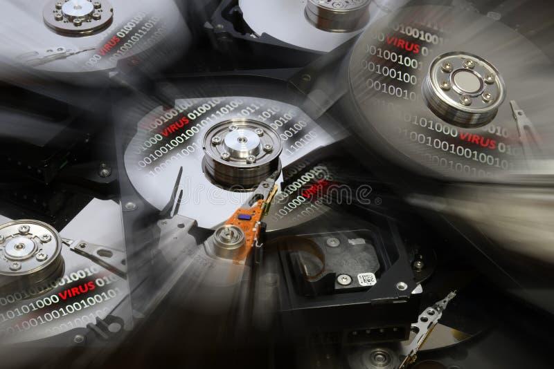 Apra il disco del disco rigido con il codice binario più e l'allarme del virus Effetti di post produzione fotografia stock