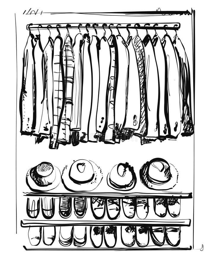 Apra il guardaroba con i vestiti e paga sugli scaffali e sui ganci Illustrazione di vettore di uno stile di schizzo illustrazione di stock