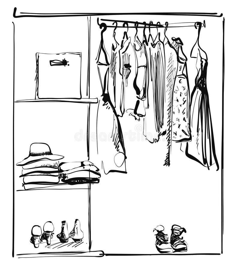 Apra il guardaroba con i vestiti e paga sugli scaffali e sui ganci Illustrazione di vettore di uno stile di schizzo immagini stock libere da diritti