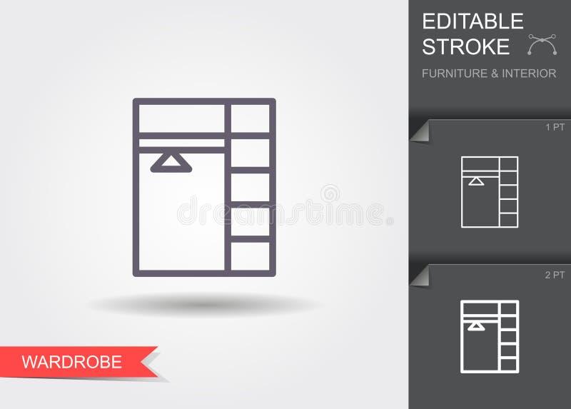 Apra il guardaroba Linea icona con il colpo editabile con ombra illustrazione vettoriale