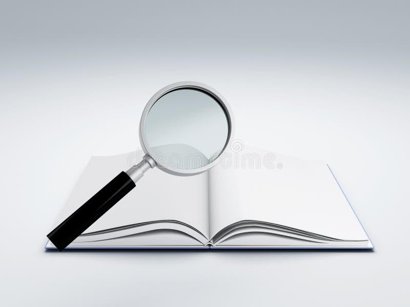 Apra il libro con la lente d'ingrandimento illustrazione di stock
