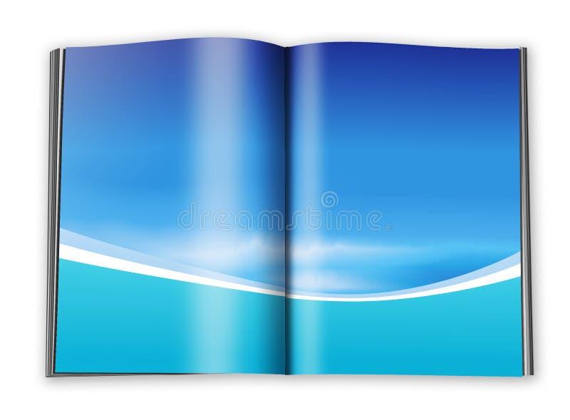 Apra il libro con le pagine vuote con un documento illustrazione di stock