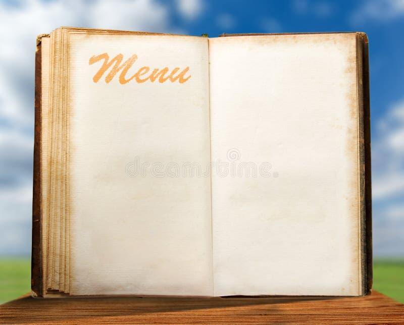 Apra il libro d'annata in bianco del menu fotografie stock