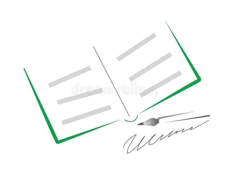 Apra il libro e la penna illustrazione vettoriale