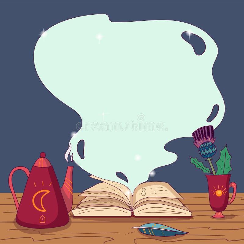 Apra il libro magico con i periodi, la penna di spoletta, la teiera e la tazza con il fiore sulla tavola di legno Tema di fiaba V illustrazione di stock