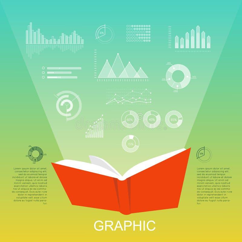 Apra il libro rosso che alleggeriscono i grafici di colonna, diagrammi illustrazione di stock